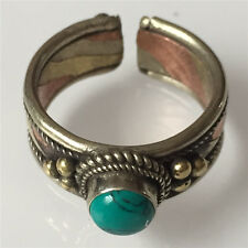 Solid Tibetan 3-color Copper Turquoise Gemstone Dotted Ring Adjustable
