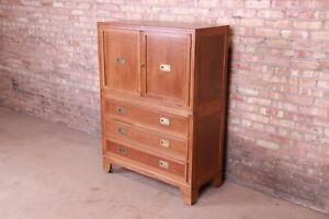 Baker Furniture Hollywood Regency Campaign Walnut Gentleman's Chest