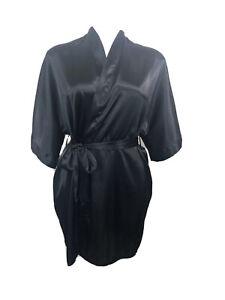 Fredericks of Hollywood Small Black Short Kimono Robe Belted Slinky Satiny