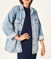 Eileen Fisher Drop Shoulder Denim Jacket COLOR: Ice Blue Size M ~ NWT