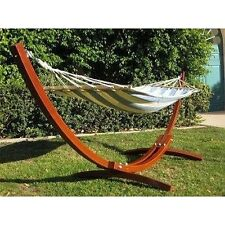 ProSource HG-2001-WH New  Wooden Curved Arc Hammock Stand W/ Hammock - Brown New