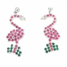 with Rhinestones Silvertone - Rspe2586-B Pink Flamingo Post Dangle Earrings