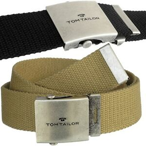 TOM TAILOR Men's Belt - Lightweight Buckle - Canvas 1 5/8in Wide, Fabric