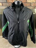 Vintage Nike Air Full Zip Windbreaker Jacket Mens Large Swoosh Black Green Vtg