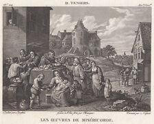 1814 Original Copperplate Engraving David Teniers Les Oeuvres De Miséricorde Art