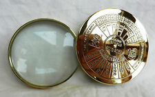 Classic Desktop Magnifier / Magnifying Glass with Brass 50 Year Calendar - BNIB