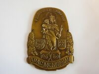 Vintage Brass Holy Madonna with Baby Child Jesus Automobile Club Car Grill Badge