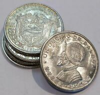 Panama 1/10 Balboa Silver Uncirculated 5x Lot of 5