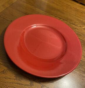 "Pier 1 Imports 14"" Red Glazed Ceramic Large Elegant Centerpiece Dish Plate EUC"