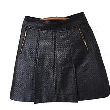 Banana Republic Textured Faux Leather Black Skiry W/Golden Zipper Pockets Size 6