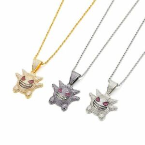 Luxury Iced Diamond Gengar Pokemon Pendant Necklace Chain Bling Out Jewellery