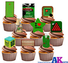 PARTY PACK - 36 X Snooker Table Balls Chalk Players Mix EDIBLE CAKE TOPPERS