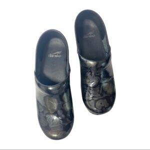 Dansko black clog shoes floral size 39