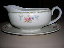 Vtg China Zeh Scherzer Bavaria Germany Porcelain Floral  GRAVY BOAT W PLATE EUC