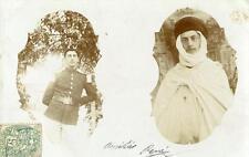 CPA ALGERIE VERITABLE CARTE PHOTO FIGURANT 2 HOMMES UN ARABE ET UN EUROPEEN (cli
