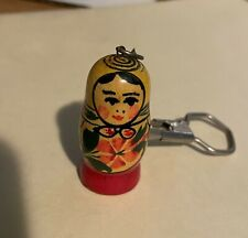 Matryoshka Key chain hand made - 1.75 inches - wood with red and yellow paint