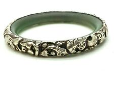 China Export Dragon Repousse Sterling Silver 925 Bracelet  37g 7.5'' BAl124