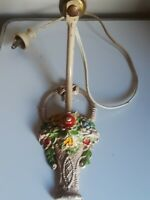 VINTAGE 1930'S ART FLORAL Basket CAST IRON WALL SCONCES LIGHT FIXTURE