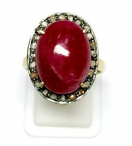Ruby Gemstone Gold Plated Ring 925 Sterling Silver Diamond ring Jewelry SE