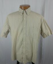 Lands End Short Sleeve Button Front Mens Shirt Tan Striped Regular Fit L 16-16.5