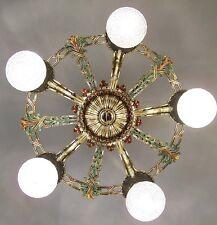 972 Vintage 20s 30s Ceiling Light aRt Nouveau Poly-chrome Chandelier 5 light