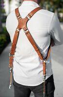 Leather Dual Harness Shoulder Strap Two Camera Adjustable Size Light Brown