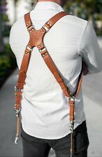 Leather Dual Harness Shoulder Strap Two Camera Adjustable Size Light Brown