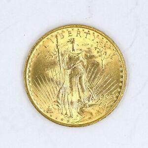 1908 NO MOTTO $20 SAINT GAUDENS DOUBLE EAGLE 90% GOLD US COIN AU-UNC DETAILS
