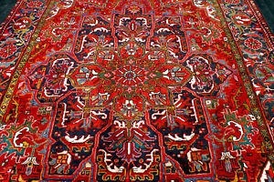8X12 1940's MASTERPIECE MINT ANTIQUE HAND KNOTTED HERIZZ GEOMETRIC WOOL RUG