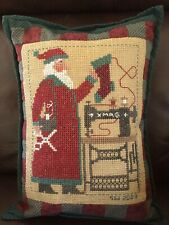 Santa Claus Needlepoint Cross Stitch Pillow Christmas Country Holiday HAND MADE