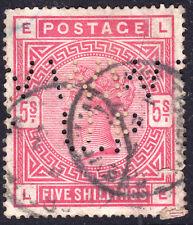 c. 1883 Gb Uk Great Britain Qv Victoria 5/- Shilling Red Perfin