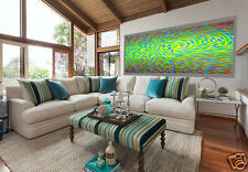 Large dreaming fish fishing aboriginal oil art painting landscape By Jane