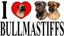 I LOVE BULLMASTIFFS Dog Car Sticker By Starprint - Ft. the Bullmastiff