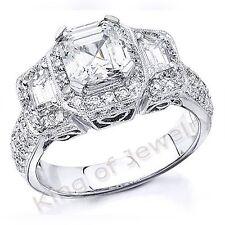 2.60 Ct. Asscher Cut,Trapezoid & Round Cut Diamond Engagement 14K Ring GIA I,VS2