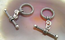 5 Bali Sterling Silver Twist Toggle Clasps #872
