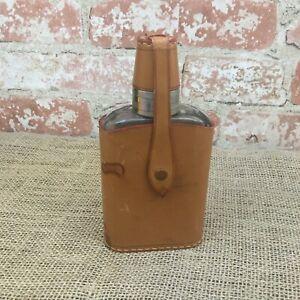 Sattlerarbeit Breuninger Rindleder German Flask leather cover 4 shot glasses