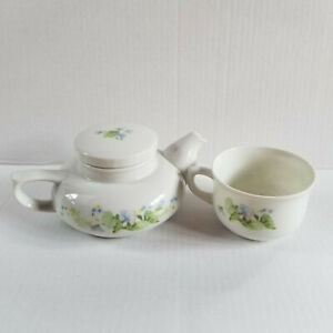 THE TOSCANY COLLECTION - Japan - Single Serve Tea Pot & Cup - Blue, Green Flower