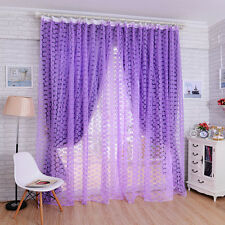 Rose Tulle Window Screens Door Balcony Curtain Panel Sheer Scarfs Purple Curtain