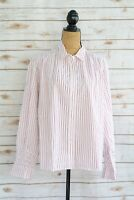 NWT Gap - Maroon white striped button front COTTON long sleeve shirt, size XL
