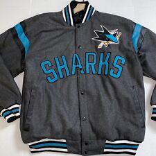 San Jose SHARKS Wool Reversible Jacket  - GRAY/BLACK NHL Carl Banks Design NWOT