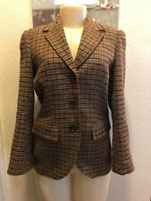 346 Brooks Brothers Wool Blazer Jacket Brown Plaid Women's Size 4 Milano Fit
