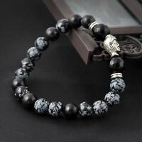 1*Perlen Armband Lava Stein Antik Silber Bracelet Chakra Buddha *`.,_ S7N8.