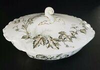Antique John Edwards Ceramic Covered Vegetable Dish Tureen Wind Flower England