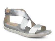 NEW ECCO $120 'Damara' Silver Metallic Leather Sandal Women's 11 / 11.5 M (42)