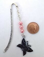 Bookmark with Black Butterfly & Pink Beads - Birthday Gift.
