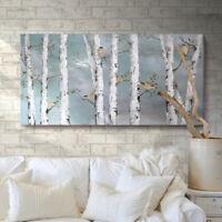 Large Tree Wall Art Hand-Painted Oil Painting Bird Birch Artwork Living Room