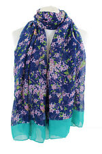 Ladies Scarves Navy Blue Japanese Bird Print  Shawl Stole Wrap Free Delivery**
