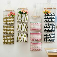 Hanging Storage Bag 3 Pockets Wall Mounted Wall Pouch Cosmetic Toys Organizer