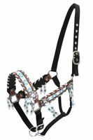 Showman BROWN & TEAL NAVAJO Diamond Print CRYSTAL Rhinestone & Tassel HALTER