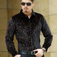 Men Velvet Shirt Leopard Printed Long Sleeve Casual Business Tops Slim Soft Blue